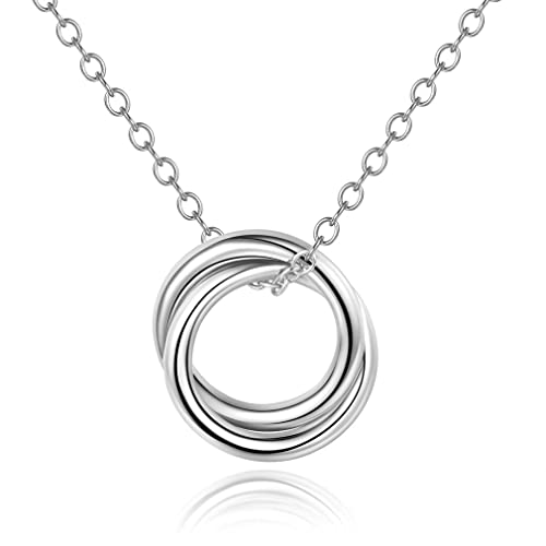 4e8bdbf88 Mouttop Mother Daughter Necklace,Double Circles Necklace Sterling Silver  925 Two-Circle Pendant Necklace