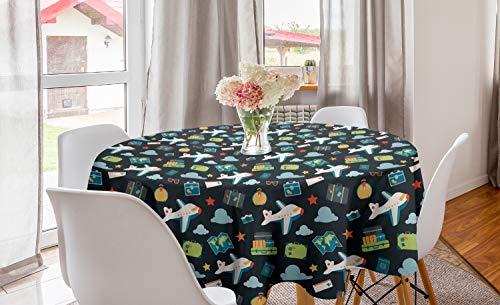 ABAKUHAUS Vliegtuig Rond Tafelkleed, Koffers Ticket Cameras, Decoratie voor Eetkamer Keuken, 150 cm, Veelkleurig