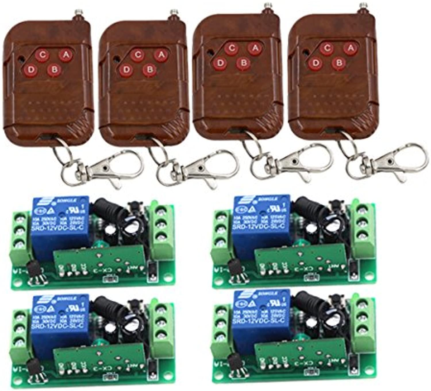 Fixed Code 12V 1CH 4pcs Transmitter+ 4pcs Receiver RF Wireless Remote Control Switch 3414  (color  315MHZ)