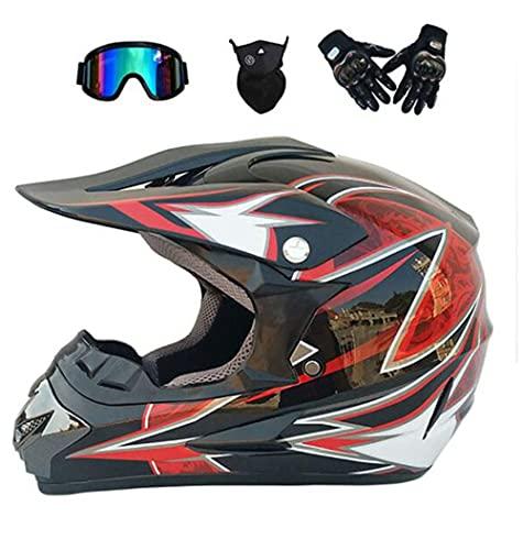 Jóvenes/Adultos Motocross Casco, D.O.T Certificado MX Off Road Casco Vespa ATV Casco con Gafas/Guantes/Mask (S-XL),C Section,S
