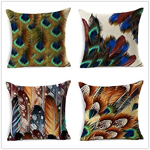 Fundas de Cojín Plumas de pájaro de Colores Algodón de Lino Cuadrado Funda de Almohada Decor Hogar Cushion Covers para Salón Sofá Coche Dormitorio Throw Pillow Case Juego de 4 L1979 40x40cm/16x16inch