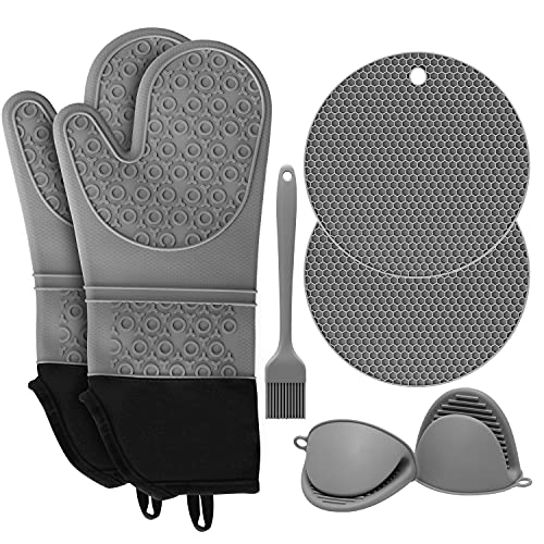 SD SENDAY Extra Long Oven Mitts and Pot Holders Sets, 15 Inches Heat Resistant Silicone Oven Mittens...
