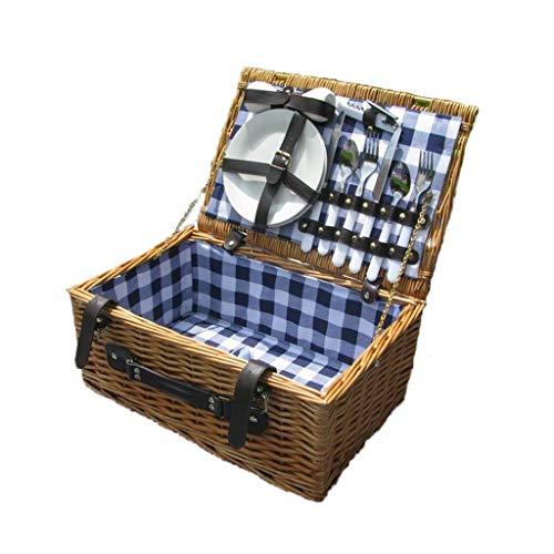 ANHUE Rieten Picknick Mand, multifunctionele Picknick Mand Huishoudelijke Rieten Mand Party Fruit Plate Picknick Barbecue Mand 41 * 28 * 19CM