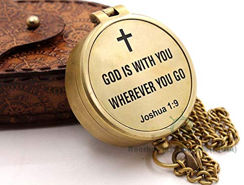 ROORKEE INSTRUMENTS (INDIA) A NAUTICAL REPRODUCTION HOUSE RII GOD is with You Wherever You GO Joshua 1:9 Engraved Compass, Confirmation Gift Ideas, Baptism Gifts