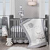 Lambs & Ivy Luna White/Gray Celestial Owl 4-Piece Nursery Baby Crib Bedding Set (740004V)