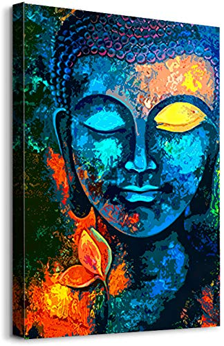 Art Oil Paintings Buddha Head Poster Upgraded Canvas Cotton Art Wall Decor for Bedroom Dining Room Bathroom Living Room Modern Artwork Cotton Canvas Prints Home Decorations 16' x 24' (Buddha Head)