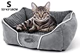 Pecute Panier Chat, Coussin pour Chat Chien Dehoussable, Lit pour Chat avec Coussin Réversible, Corbeille pour Chat Lavable, Matelas Chat en Micro Daim, Lit de Sommeil de Chat Chaton (S 53*43*18cm)