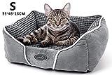 Pecute Cama de Perros y Gatos Básica Cama de Suave Gamuza para Perros y Gatos de Color Gris S(53 * 43cm)