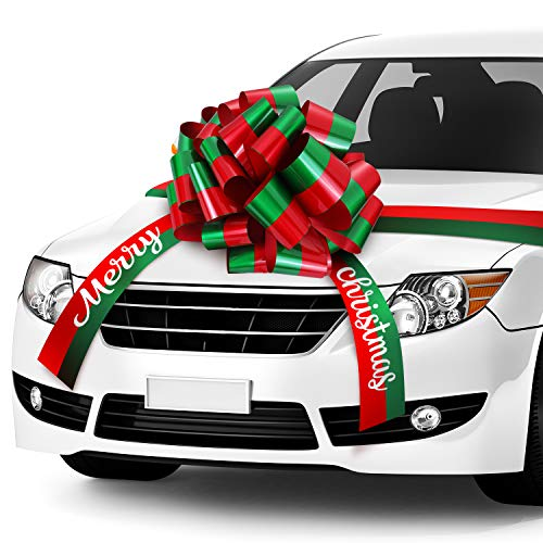20 Inch Merry Christmas Car Bow Sweet Giant Red Green Pull Bow Waterproof Car Ribbon Bow with 20 Feet Car Ribbon for Christmas Party Car Decorations