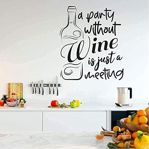 Etiqueta De La Pared Fiesta Sin Vino Vinilo De La Pared Decoración Del Hogar Calcomanía De Cocina Diseño De Interiores Bar Mural 42X49Cm