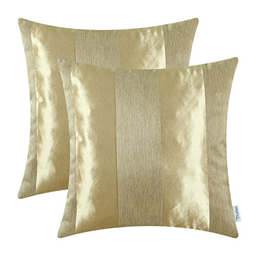 CaliTime Cushion Covers Pack of 2 Throw Pillow Cases Shells for Couch Sofa Home Decoration Modern Shining & Dull Contrast Striped 45cm x 45cm Gold