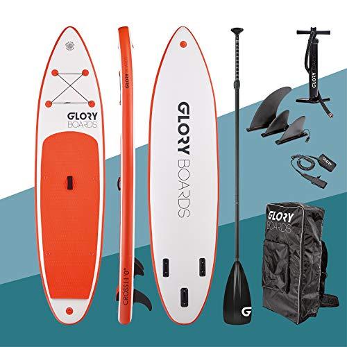 Glory Boards  2021 – Stand up Paddling Board gonfiabile – portata fino a 180 kg – Set completo per SUP con pagaia in carbonio, pompa, zaino – opzione kayak – Stand up paddle Board