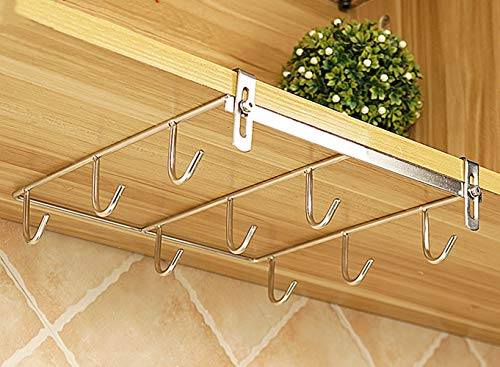 Coffee Mug Holder  304 Stainless Steel ,Cup Rack Under Shelf ,Applicable Cabinet Adjustment Thickness 039 quot117quot 9Hooks Primary Color 1 Piece