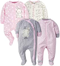 Gerber Baby Girls' 4 Pack Sleep N' Play Footie, Bunny, Newborn