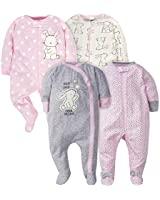 Gerber Baby Girls' 4 Pack Sleep N' Play Footie, Bunny, Preemie