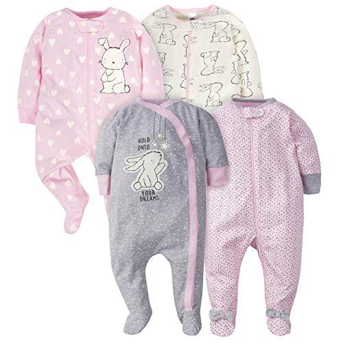 Gerber Baby-Mädchen 4 Pack Sleep N' Play Footie Kleinkind, Schlafsack, Kaninchen, 6-9 Monate