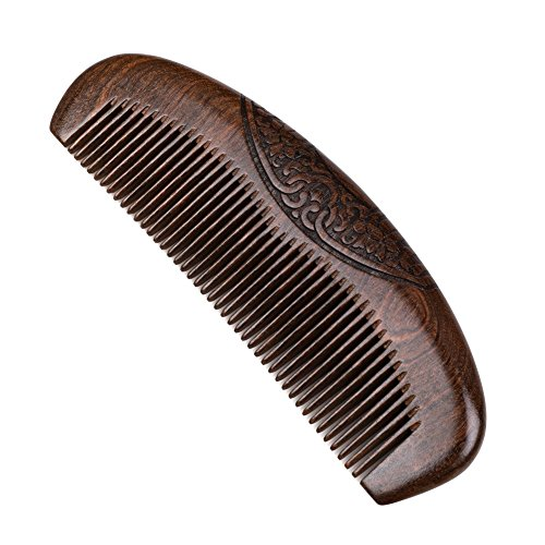 Wood Hair Comb Sandalwood Hair Beard Comb with Engraved Patterns Anti-Static Detangling Handmade Fine Tooth Comb Best for All Types of Hair Beard Moustaches