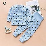 TINGYIN Pijamas del bebé Conjunto Unisex - bebé recién Nacido Primavera y el otoño del 100% de la Manga Larga de algodón Tops + de Las Bragas Ropa Trajes Set