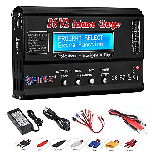 ICQUANZX LiPo Battery Charger, LiPo Charger RC Balance Fast Charger Discharger 1S-6S AC DC B6V2 Digital Battery Pack Charger for NiCd Li-ion Life NiMH LiHV PB Smart Batteries