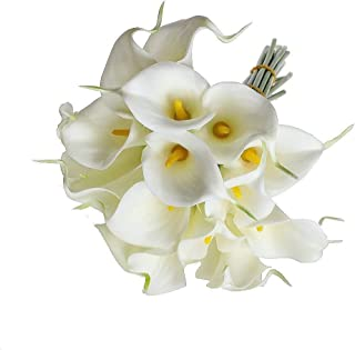Real Touch - Calla Lily Bridal Wedding Bouquet 10 Head Latex Real Touch Kc51 White - Cherry Rose Marker Sunflowers Blush Orchid Iris Dendrobium Dancing Orange Lilys Bulk Silver Foam Vines Fl