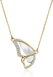 Mestige Women's Gold Monarch Pearl Necklace with Swarovski Crystals - MSNE3505