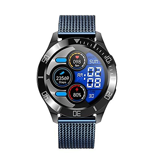 Reloj inteligente HanYuMaoYi con Bluetooth para monitoreo de la salud, recordatorio inteligente, modo multideportivo, correa de malla de acero (color: azul)