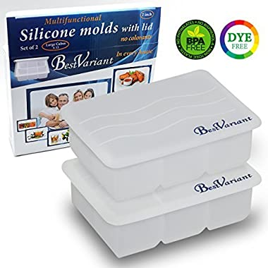 BestVariant Silicone Ice Cube Molds Tray with Lid – Premium, Dye-Free, Non-Toxic – Makes Large 2 inch Cubes – Multipurpose Flexible – Easy to Remove Ice Cubes – Stackable Trays (2 Pack)