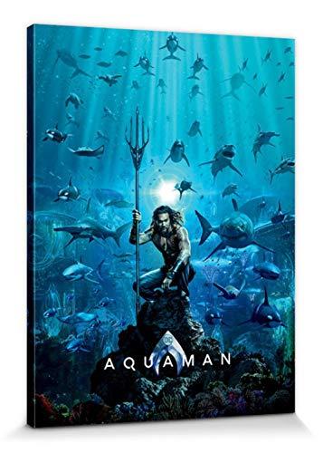 1art1 Aquaman - Teaser Bilder Leinwand-Bild Auf Keilrahmen | XXL-Wandbild Poster Kunstdruck Als Leinwandbild 80 x 60 cm