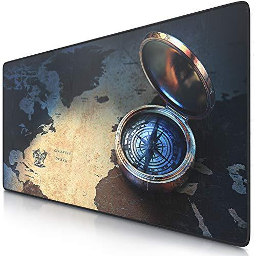 Preisvergleich Produktbild CSL - XXL Mauspad Gaming 900x400 mm - XXL Mousepad groß mit Motiv - Tischunterlage Large Size - verbessert Präzision und Geschwindigkeit - auch für Roccat Razer Logitech Maus und Tastatur - Kompass