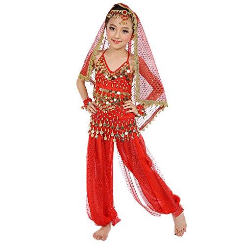 BOZEVON Enfants Filles Danse Vêtements Belly Dance Costumes Ensemble de Six Pièces, Rouge/XL