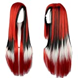 Straightened Length 27.6' Wig Mixed Color Long Curly Wavy Hair Women and Girl Cosplay Party Costume Wig(Red, Black, White)
