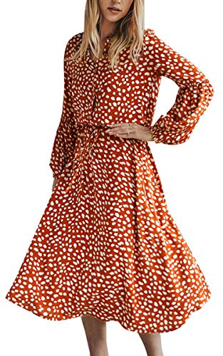 CinShein Womens Casual Wrap Midi Dress Long Sleeves Floral Boho Leopard Polka Dot Flower A Line Beach Party Maxi Dress Orange Small