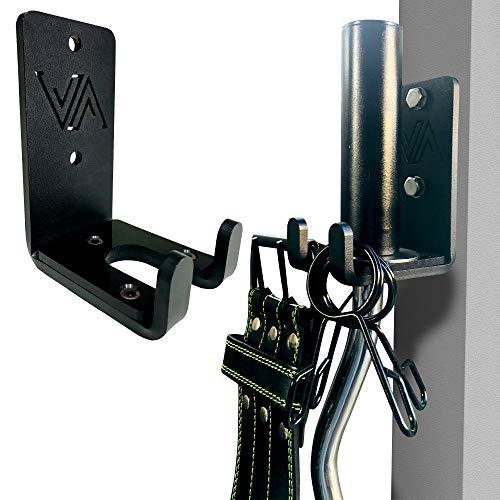 VIGOR ATHLETE Langhantelhalter, olympische oder jede Größe Langhantelaufbewahrung, vertikale Wandhalterung, spezielles PE-Kissen für zusätzlichen Schutz und solide Stahlkonstruktion.