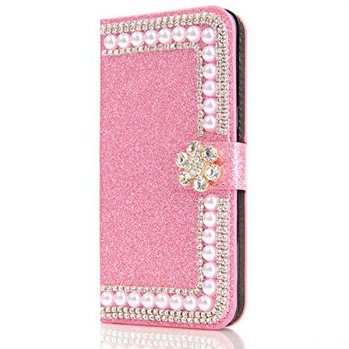 Capa carteira XYX para iPhone 11, capa carteira para iPhone 11, design com fivela de flor de pérolas com glitter e design de fivela de couro PU para meninas e mulheres para iPhone 11 de 6,1 polegadas (rosa)