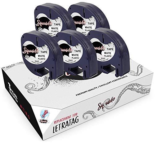 Squuido 5 Casetes de Cinta de Plástico Negro sobre Blanco Etiquetas 12mm x 4m compatibles para Dymo LetraTag LT-100H LT-100T LT-110T Plus 2000 QX50 XR XM
