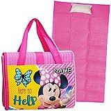 alles-meine.de GmbH Strandmatte / Strandunterlage mit Kissen - Disney - Minnie Mouse - inkl. Name - 75 cm * 150 cm - Faltbare Picknick Decke / als Unterlage Isomatte - Nackenroll..