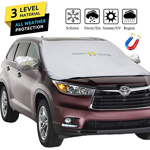 Big Hippo Auto Sonnenschutz für Frontscheiben, Sonnenschutz Auto für Windschutzscheibe, Sonnenblende Auto Frontscheibe 5 Magnet für UV Schutz gegen Sonne, Schnee, Frost, Staub, Faltbare 190x125cm