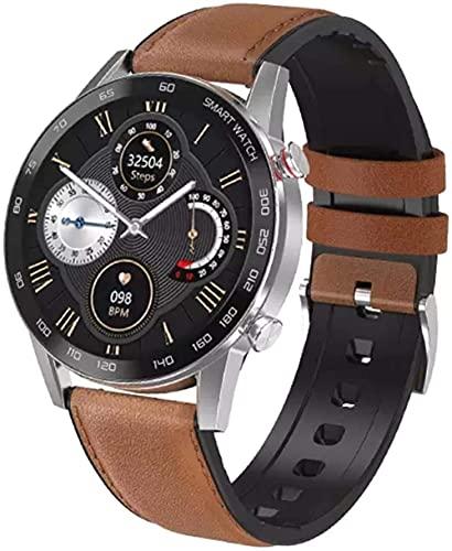 Reloj Inteligente Llamada Bluetooth Pulsera Deportiva Monitoreo de Salud Recordatorio de Información Inteligente Asistente de Deportes al Aire Libre Negro Plástico-Plata Cuero