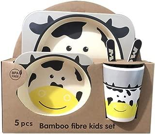 Cuenco Tenedor y Cuchara 5 Piezas de Fibra de bamb/ú para ni/ños peque/ños Taza Panda Cena de Dibujos Animados con Plato Chiatai Juego de vajilla para ni/ños