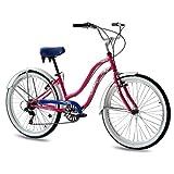 KCP 26' Beach Cruiser Comfort Bike Ladies Aloha 2.0 6S Shimano Pink (p) Retro Look - (26 Zoll)