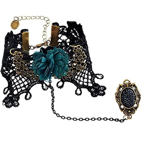 LUIDILUC Pulsera baciamanos anillo encaje victoriano Link gótico macramé Ste M22 negro