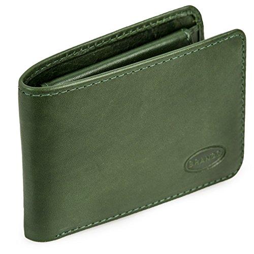 Kleine Geldbörse/Mini Portemonnaie Größe XS aus Leder, für Damen und Herren, Jäger-Grün, Branco 12022