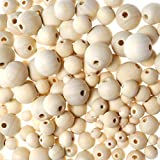 wood badge beads - TOAOB 180pcs Wood Beads Natural Round Unfinished Wooden Loose Spacer Beads Ball Craft Supplies Kit 8mm to 20mm for DIY Bracelets Necklaces Jewelry Making