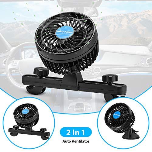 Ventilador para coche con 12 V, ventosa ajustable y soporte para asiento trasero de coche, dos métodos de instalación, color negro