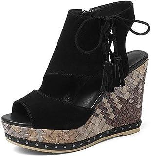 755fefe5278e32 HhGold Chaussures 11cm - Noir - Sandales compensées à Bouche de Poisson -  Plateforme d'