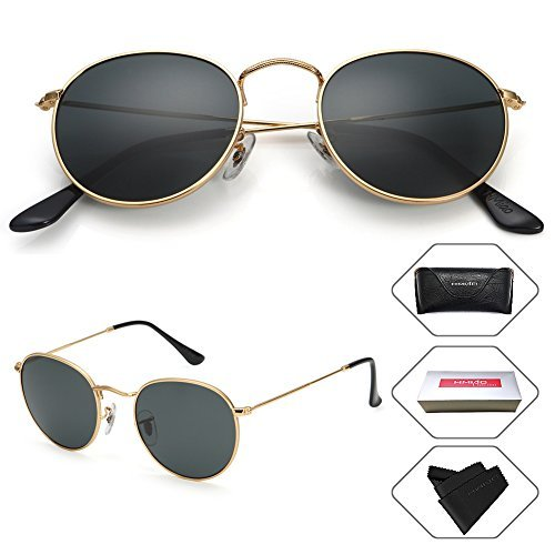 e30ca1115d26f Small Round Vintage Mirror Lenses UV Protection Unisex Sunglasses by HMIAO