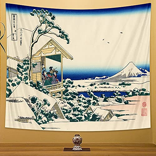 PPOU Tapiz de Paisaje de Playa de Estilo japonés Colgante de Pared decoración del hogar Estilo Bohemio Revestimiento de Pared Manta Tela Colgante A7 150x200cm