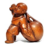 XG Inc Y5404-2' Hand Carved Boxwood netsuke : Little Monk Boy with Peach