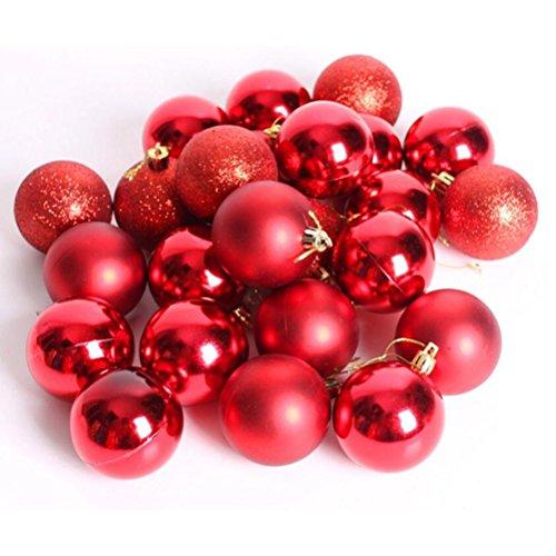 WINOMO Noël Boules Ornements pour Arbre Multicolore Thème Décoratif Décor Exquis à billes 24pcs (rouge)