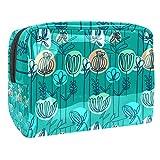 Bolsa de maquillaje grande de flores azules retro dibujada a mano, bolsa de cosméticos portátil de viaje impermeable, caja de belleza de viaje, bolsas de aseo